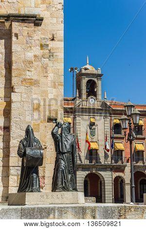 Zamora Spain - June 20 2016: Merlu easter statue in Church of San Juan Bautista in mayor square of Zamora with new town hall in background. Castilla y Leon Spain.