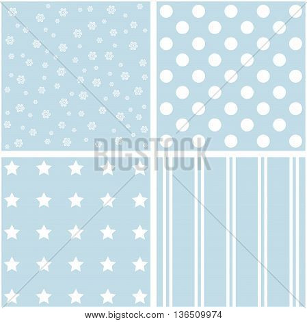Vector set of four blue and white patterns.