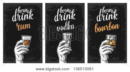 Male hand holding a glasses with vodka rum bourbon and ice cubes. Vintage vector engraving illustration for label poster invitation to invitation to party and birthday.