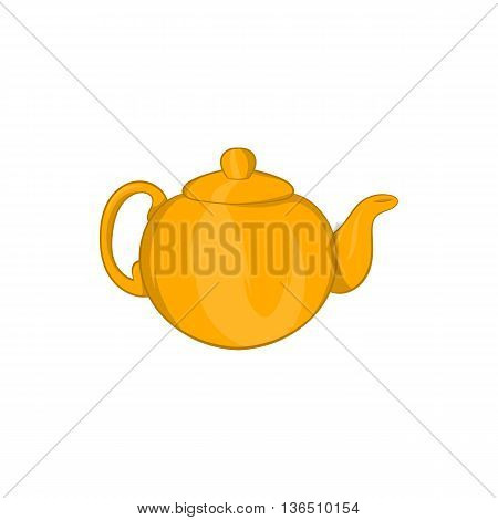 Orange teapot icon in cartoon style on a white background