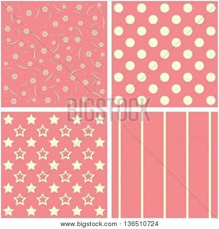 Vector set of four red and white patterns.
