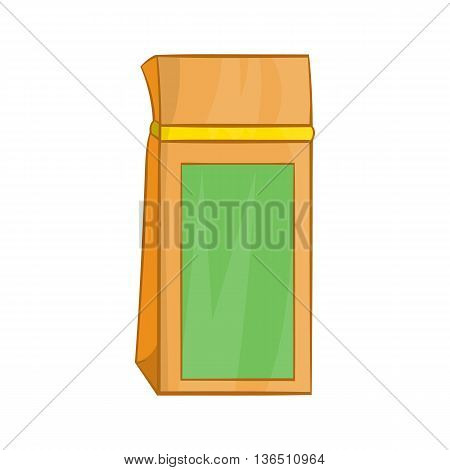 Tea packed in a paper bag icon in cartoon style on a white background