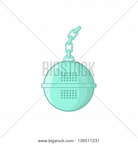 Steel strainer icon in cartoon style on a white background
