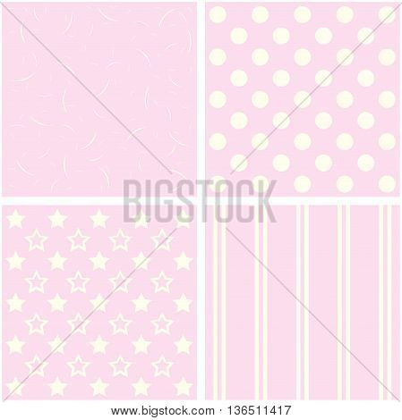 Vector set of 4 background patterns in pale pink.