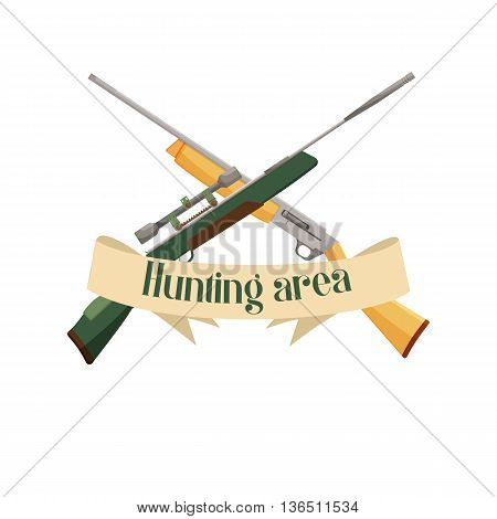 Hunting area design emblem. Place for hunt, gun and rifle weapon, vector illustration