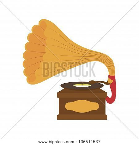 Retro and vintage technology concept represented by saxophone icon. isolated and flat illustration