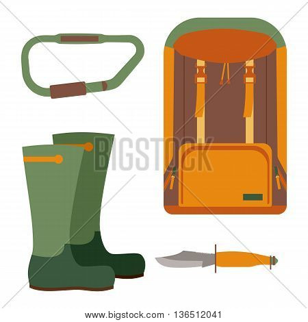 Hunting knife and backpack for trekking. Leisure and hiking, equipment for travel tourism, vector illustration