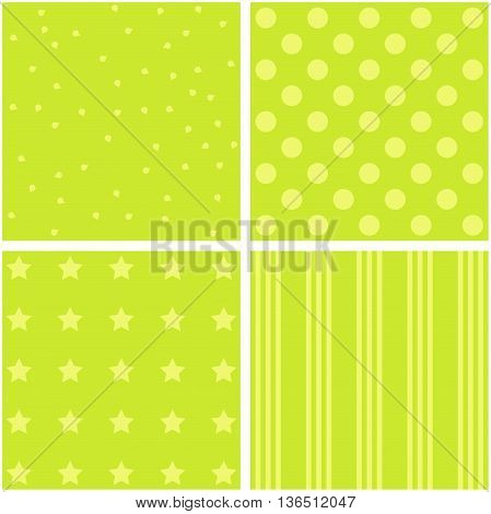 Vector set of 4 background patterns in green.