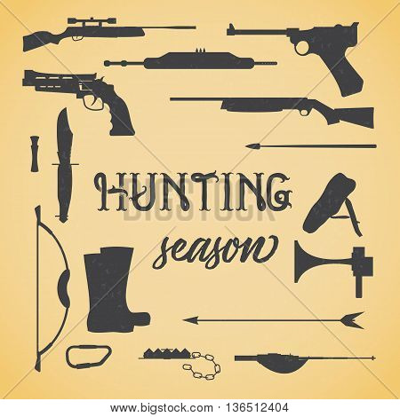 Objects for hunting weapons. Set of icon gun and object silhouette for hunting, vector illustration