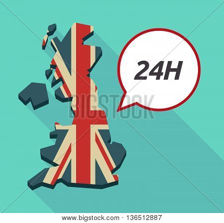 Long Shadow United Kingdom Map With    The Text 24H