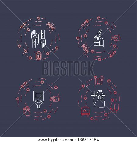 Illustration of medical and health object. Concept made in line style. Can be used for banners flayers web illustration and other