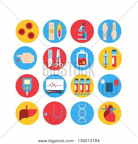Colorful medical round icon set. Vector blood and heart tests pictorgam collection.