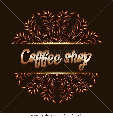 Coffee shop logo with mandala. Cafe or restaurant coffee. Vector illustration