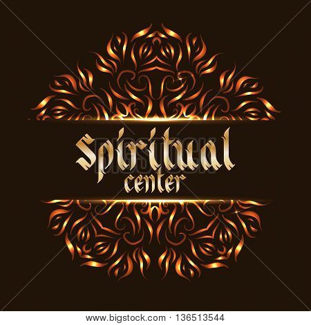 Spiritual center logo mandala. Sacred spirituality pattern, floral symbolic for indian mediation. Vector illustration