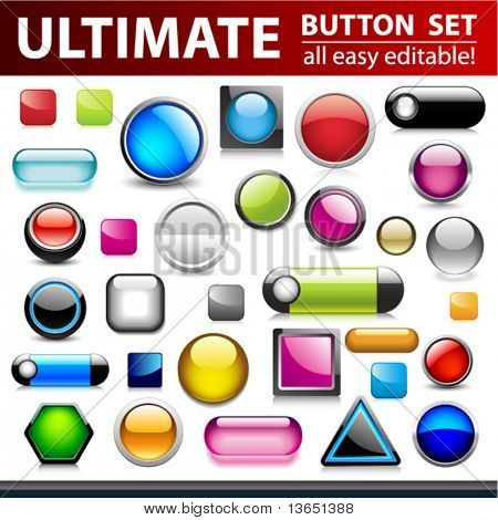 Ultimate button set for web design. Vector.