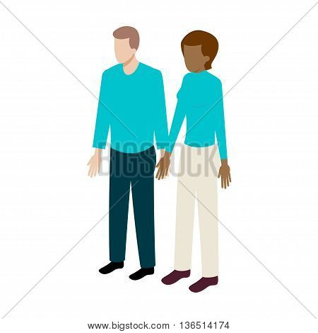 flat Isometric international couple sign. International family icon vector illustration. Black woman and white man