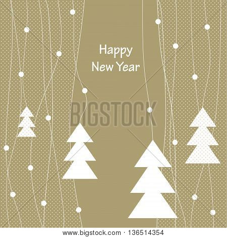 Cover design for the greeting card.Decoration with the white Christmas Trees on the beige background with the white dots.