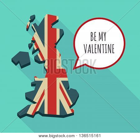 Long Shadow United Kingdom Map With    The Text Be My Valentine