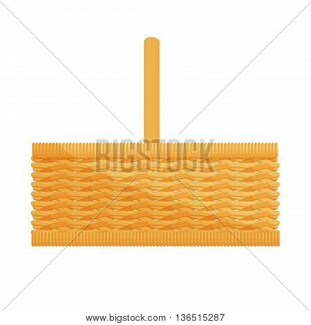 Empty wicker basket with handles isolated on white cartoon icon vector illustration