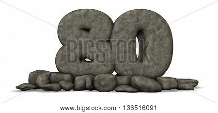 stone number eighty on white background - 3d rendering