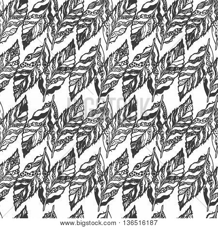 Vector black and white seamless abstract background with feathers. Can be used for wallpaper, pattern fills, web page, surface textures, textile print, wrapping paper. Coloring page