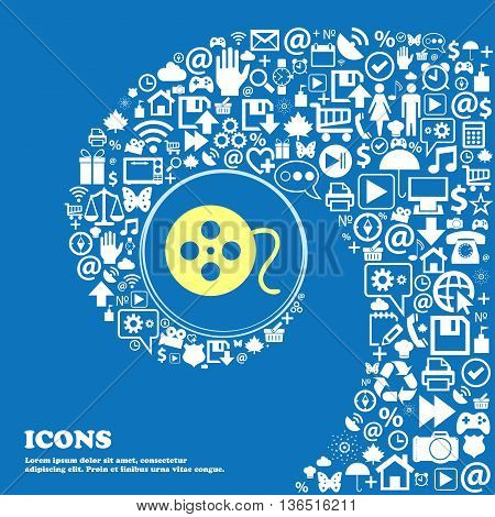 Film Icon . Nice Set Of Beautiful Icons Twisted Spiral Into The Center Of One Large Icon. Vector
