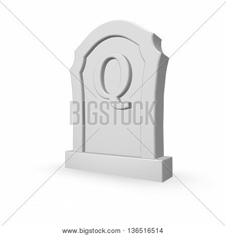 gravestone with uppercase letter q on white background - 3d rendering