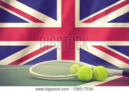 British tennis concept with flag and ball vintage color