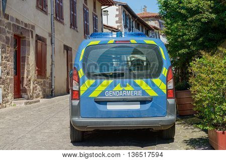 a French police car in a small village