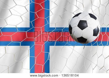 Faroe Islands Flag And Soccer Ball, Football In Goal Net