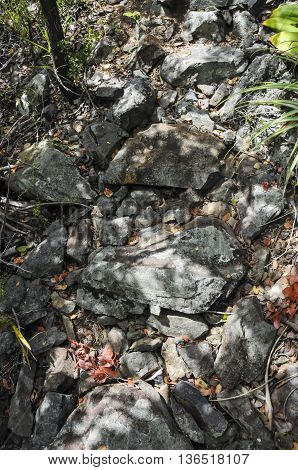 A look at rough rocks on the side of a mountain on St. John island.