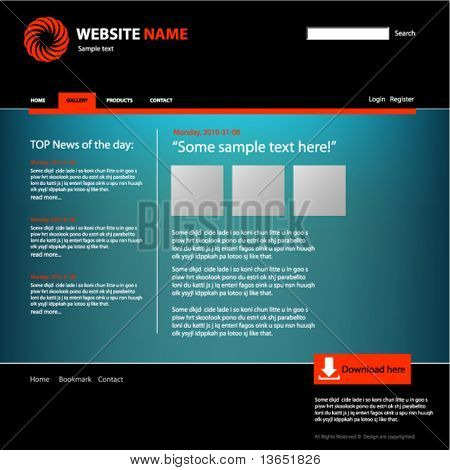 Modelo de design de Web site, vetor.