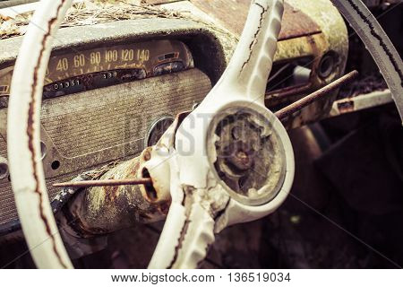 dashboard of a vintage car in sweeten