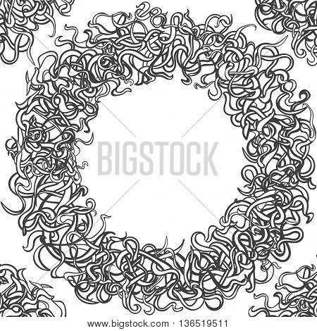 Black and white round floral frame temtlate. Line art floral circle frame.