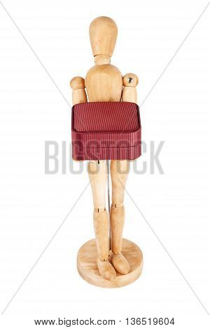 Wooden dummy carrying red gift box isolated on a white background
