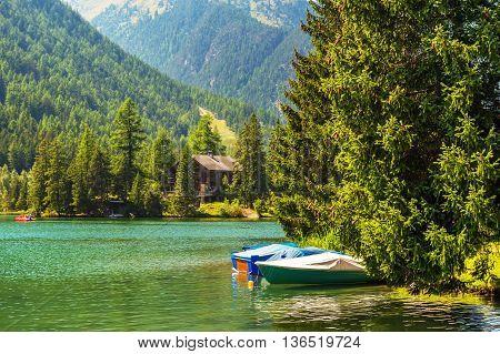 Beautiful lake in swiss Alps, Champed-Lac, Valais, Switzerland