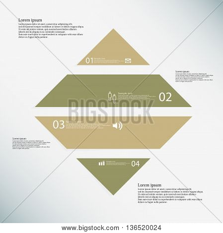 Rhombus Infographic Template Consists Of Four Brown Parts On Blue Background