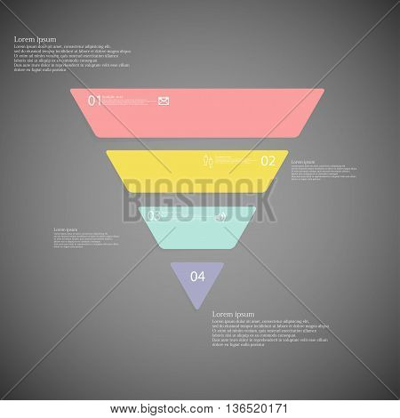 Triangle Infographic Template Consists Of Four Color Parts On Dark Background
