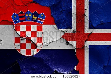 Flags Of Croatia And Iceland Painted On Cracked Wall