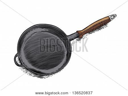 Drawing of isolated iron black frying pan on the white