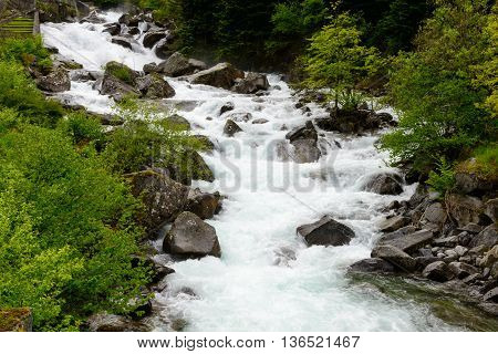 a torrent in the french Pyrenees mountains