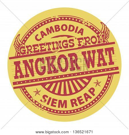 Grunge color stamp with text Greetings from Angkor Wat, Cambodia, vector illustration