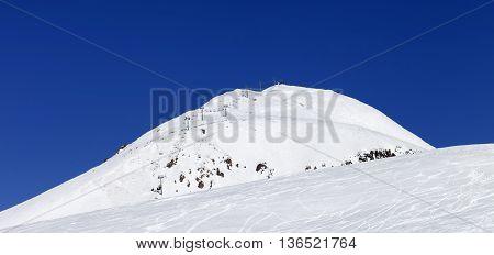 Panoramic view on ski resort at Caucasus Mountains. Georgia Gudauri Mt. Sadzele.