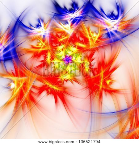 Dance bright multi-colored stars. 3D illustration. Sacred geometry. Mysterious psychedelic relaxation pattern. Fractal abstract texture. Digital artwork graphic design astrology alchemy magic.