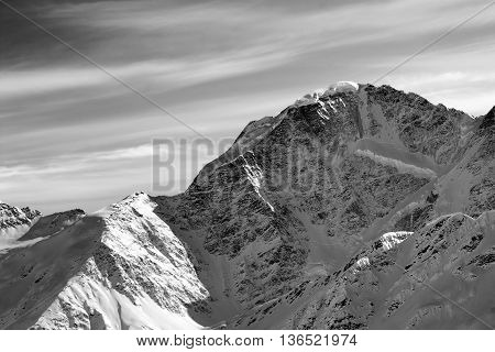 Black And White Winter Mountains At Sun Morning