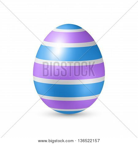 Easter Egg with Strips Artistic Texture. Illustration on White with Shadow