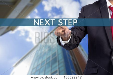 Businessman Hand Touching Text Step Tab On Virtual Screen
