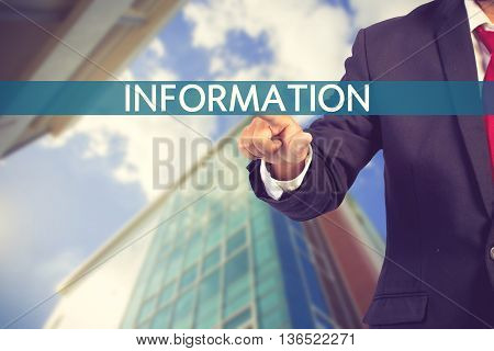 Businessman Hand Touching Information Tab On Virtual Screen Vintage Color
