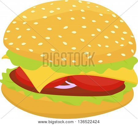 hamburger or cheeseburger vector fast food illustration unhealthy food icon isolated on white