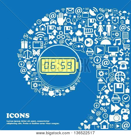 Alarm Clock Icon . Nice Set Of Beautiful Icons Twisted Spiral Into The Center Of One Large Icon. Vec